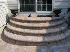 Home improvement advice needed- rear door entry steps - Corvette Forum Concrete Front Steps, Brick Steps, Concrete Porch, Concrete Patios, Stone Steps, Front Porch Steps, Patio Stairs, Backyard Patio Designs, Patio Ideas