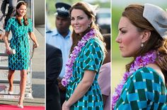 Kate Middleton rides an open-top vehicle, shaped like a traditional canoe, at Honiara International Airport