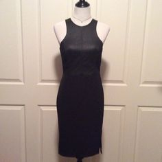 """Little Black Dress w/Faux Leather Bodice This sexy LBD features a faux leather bodice with exposed zipper in the back & straight opaque poly skirt. The thread is coming loose at the apex of the skirt slit (see photo) but not too noticeable. If you're decent with a needle & thread it's an easy fix. Great condition otherwise. 18""""B, 14.5""""W, 38""""L. There is a bit of stretch in the fabric but I think it still runs smaller...as most H&M garments tend to do. H&M Dresses"""