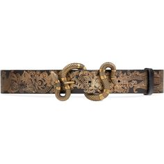 d9c7b0165bb Gucci Printed Leather Belt With Snake Buckle (985 CAD) ❤ liked on Polyvore  featuring