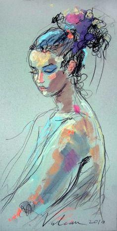Pensive 6 (Peinture),  30x60 cm par Raluca Vulcan