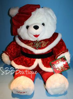 "NEW 21"" Dan Dee 2000 Christmas Snowflake Teddy Bear White Plush Red Holiday NWT"