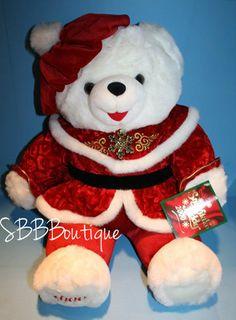"NEW 21"" Dan Dee 2000 Christmas Snowflake Teddy Bear White Plush Red Holiday NWT"