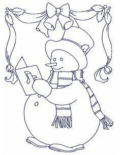 "These simple snowman designs that work great for quilting or quick projects 10 Designs for 4""x4"" hoops, 10 Designs for 5""x7"" hoop, and 10 Designs for 6""x10'' hoop. STITCH INFO AND THREAD CHARTS Blu..."