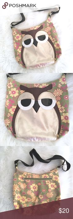 """Owl Canvas Crossbody Bag Owl Canvas Crossbody Bag // 13.25"""" x 12"""" // Far Nine brand // beautiful large metallic gold owl with black and brown accents // canvas floral background is green, yellow, pink // black adjustable Crossbody strap // zipper pouch on back // clean interior // interior pouches // no stains or blemishes anywhere // perfect tote bag for the Owl Lover!! // 2.4.20 // 16o.33 // Bundle Discounts! Far Nine Bags Crossbody Bags"""