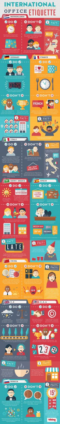 International Office Etiquette Infographic - what are the office norms in your country vs. office norms in other countries
