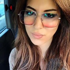 #DailyDeals SHAUNA Spring Hinge Fashion Women Square Sunglasses Retro Men Blue Pink Gradient Glasses UV400