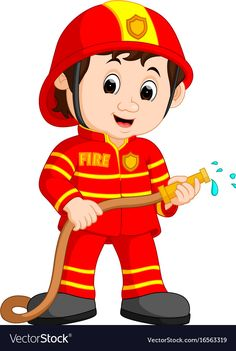 Cute fireman cartoon vector image on Firefighter Images, Community Helpers Preschool, Flashcards For Kids, Community Workers, English Lessons For Kids, School Frame, Petite Section, Cartoon Kids, Preschool Activities