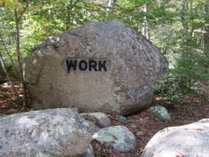 """""""Work"""" boulder on the Babson trail, Dogtown, Gloucester, MA. Gloucester, Bouldering, Garden Sculpture, Cape, Trail, Places, Outdoor Decor, Mantle, Cabo"""