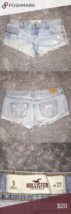 💕 hollister jean shorts lightly worn hollister jean shorts size 5 w27 super cute worn out look Hollister Shorts Jean Shorts