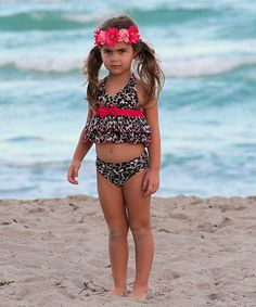 This Red Leopard Ruffle Bikini - Toddler & Girls by Mia Belle Baby is perfect! #zulilyfinds