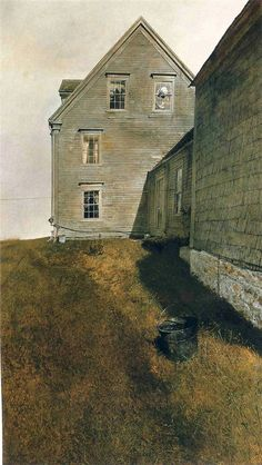 Andrew Wyeth Paintings, Andrew Wyeth Art, Watercolor Architecture, Cottage Art, Unusual Art, Art Journal Inspiration, Dark Art, America, House Styles