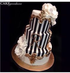 Black and white stripped cake.