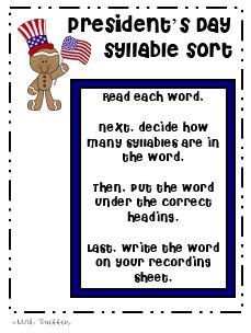 Presidents' Day syllable sort - free printables