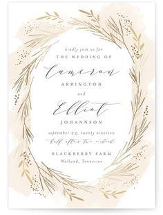Wheat Field Foil-Pressed Wedding Invitations