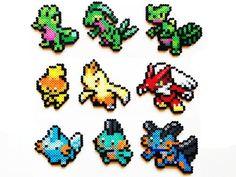 "Pokemon Perler Generation 3 Starters by Me ""ShowMeYourBits"" on Esty, $2.00 - $7.00 #perler #perlerbeads #beadsprites #hamabeads #pokemon #Treecko #Torchic #Mudkip #Blaziken:"