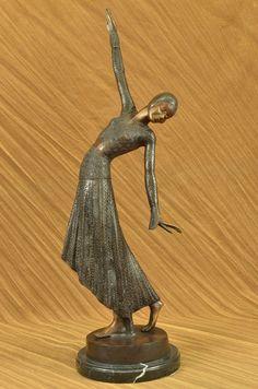 Vintage Large Art Deco Dancer Dimitri Chiparus Bronze Sculpture