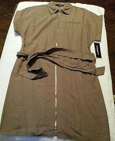 Sharagano Zip Up Front Belted Short Sleeve Soft Mushroom Dress Size 8 New