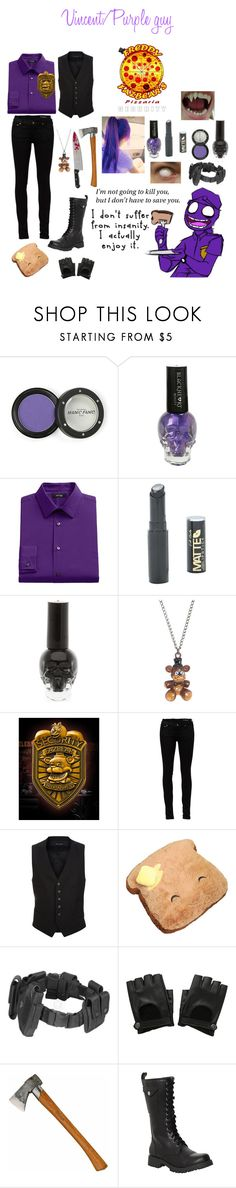 """""""Vincent the purple guy cosplay"""" by troubling-matters ❤ liked on Polyvore featuring Manic Panic NYC, Hot Topic, Apt. 9, Freddy, Yves Saint Laurent, Tom Ford, KAOS, POLICE and Volatile"""