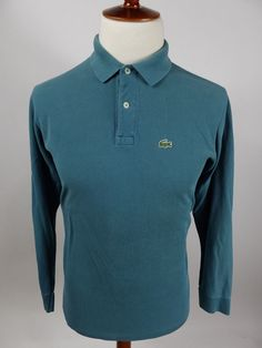 64eacfa5fd88b Lacoste Vintage Grand Patron 1970s Polo Rugby Teal Long Sleeve Shirt Men 5   Lacoste
