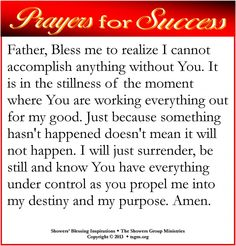 Father, Bless me to realize I cannot accomplish anything without You. It is in the stillness of the moment where You are working everything out for my good. Just because something hasn't happened doesn't mean it will not happen. I will just surrender, be still and know You have everything under control as you propel me into my destiny and my purpose. Amen.
