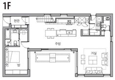 [BY 전원주택라이프] 글 일공이디자인 문선희 소장 | 사진 김재윤 HOUSE NOTE 대지위치 경기 성남시 ... Single Apartment, Narrow House Plans, Small Modern Home, Interior Sketch, Forest House, House Roof, Home Design Plans, Layout Design, Planer
