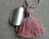 Pale Pink Tassel with Silver Curve Pendant £21