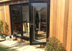 Contemporary gallery on Sanctum Garden Studios Modern Patio Doors, Garden Studio, Sheds, Contemporary Art, Studios, Gardens, Windows, Gallery, Room
