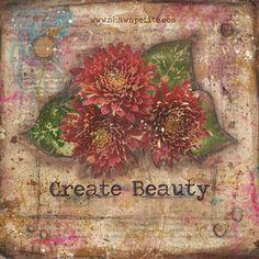 create-beauty-8x8 print of the original on wood $15.00