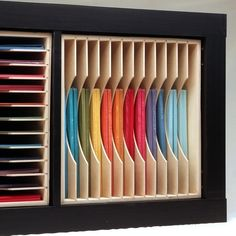Paper Holders Add a Paper Holder to your IKEA® Kallax shelf unit for maximum paper storage!Add a Paper Holder to your IKEA® Kallax shelf unit for maximum paper storage! Scrapbook Storage, Scrapbook Organization, Craft Organization, Scrapbook Rooms, Organizing Life, Space Crafts, Home Crafts, Craft Space, Craft Paper Storage