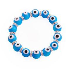Evil Eye Bracelet CZ and Swarovski Crystals 12mm Beads Light Blue - Jewelry For Her