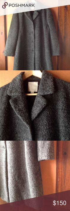 """Boxy teddy coat, EUC Gorgeous speckled grey plush teddy style overcoat, lambswool and angora blend with full lining.  Medium petite, but really oversized, kind of like Marni's.  39"""" long from back collar.  This is in beautiful excellent used condition.  It's a reposh because I underestimated the size.  I'm devastated!!  Smoke free, pet free home. J. Jill Jackets & Coats"""