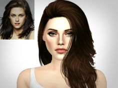 Hello everyone, this is my version of actress Kristen Stewart whose best known for her role as Bella Swan in the movie Twilight. Also, I decided not to add any clothing links to this sim, so please. Sims 4 Cas, Sims Cc, Bella Wedding Dress, Los Sims 4 Mods, Vampire Twilight, Bella Cullen, Sims 4 Characters, Queen Makeup, Bella Swan