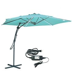 Myal Updated Version Led Cantilever Umbrella 10ft Offset Patio Outdoor With Light 180 Turquoise