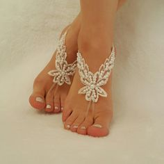 ivory pearl processing beach wedding handmade woman accessory lace bangle barefoot shoes embroidered free ship anklets