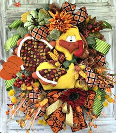 Your place to buy and sell all things handmade Turkey Wreath, Pumpkin Wreath, Wreath Fall, Thanksgiving Wreaths, Holiday Wreaths, Holiday Decorations, Fall Home Decor, Autumn Home, Red Sunflowers