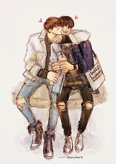 Vkook, Cute Words, Kpop Drawings, First Art, Kpop Fanart, Chanbaek, Figure It Out, Namjin, Kpop Boy