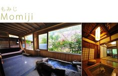The Momoji (Maple) room at the Gaojoen Ryokan with the recessed fire pit and living room with bath