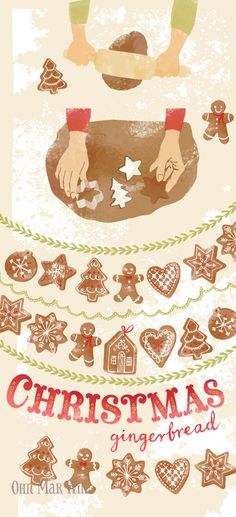 Evoking the smells and excitement of making gingerbread at Christmas time. Food illustration. Ohn Mar Win
