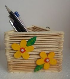 popsicle stick pen stand DIY
