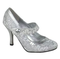 d5a59f6a23 Womens Round Toe Court Shoe Ladies Strappy High Heel Stiletto Silver  Glitter Size 6 UK: Amazon.co.uk: Shoes & Bags