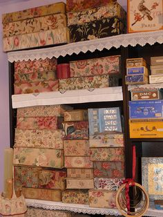 fabric covered boxes,=organization ideas (CRAFT ROOM)