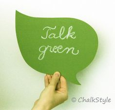 Green Chalkboard Leaf Shaped Speech Bubble Erasable by ChalkStyle, $12.00 Recycle sign