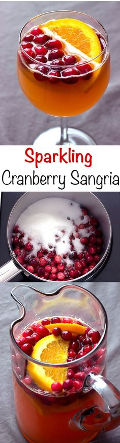 #ad Sparkling Cranberry Sangria recipe - perfect cocktail for the holidays.  #CookWithCranberries @USCranberries