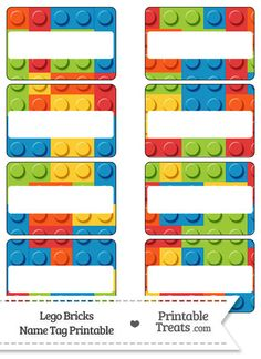 "Enjoy this set of cute Lego bricks name tags you can use for parties, labeling things, or as gift tags. These Lego bricks name tags are decorated with a pattern of random shaped ""Lego"" Lego Classroom Theme, Classroom Door, Classroom Name Tags, Name Tag Templates, Printable Templates, Lego Printable, Printable Name Tags, Lego Activities, Lego Club"