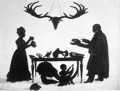 """""""William Buckland and his Wife and Son Frank, Examining Buckland's Natural History Collection"""", silhouette by Augustin Edouart ca. Buckland was a geologist and palaeontologist, and was somewhat. Kara Walker, Silhouette Photography, Art Database, Romanticism, Natural History, Black Art, Moose Art, Illustration Art, Artist"""