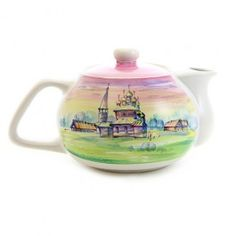 $22.00 Handmade CeramicTeapot with Overglaze Painting. Go in a variety of shades.
