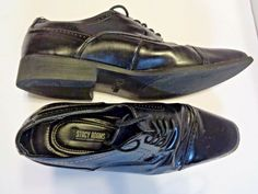 f6d4cb2b3f8 Stacy Adams Mens Size 10 M Black Leather Dress Shoe Cap Toe Semi Brough  Lace Up