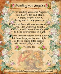 Sending you Angels - The Poem of Love, Joy and Hope- from 'A Pocketful of Comfort' by Mary Jac