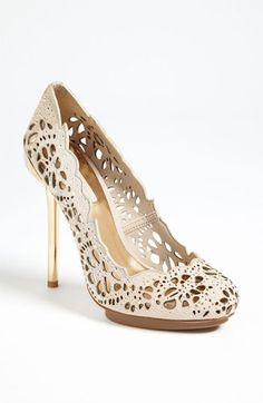 "Cool summer heels! BCBGMAXAZRIA ""Peacock"" Nordstrom.   Pinned by BaubleBabe Jewelry on ""How to Wear Lace"" Board."